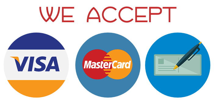 We accept MasterCard, Visa and Check